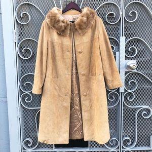 Vintage suede fur collar leather Penny Lane coat